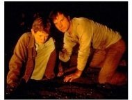 Frailty movie still: Matt O' Leary as Fenton and Bill Paxton as Dad