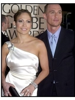 Jennifer Lopez and Matthew McConaughey at the 2001 Golden Globe Awards