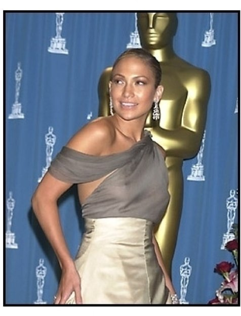 Jennifer Lopez backstage at the 2001 Academy Awards